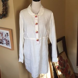 BODEN 16 LINEN tunic BUTTON & embroidery $139 new